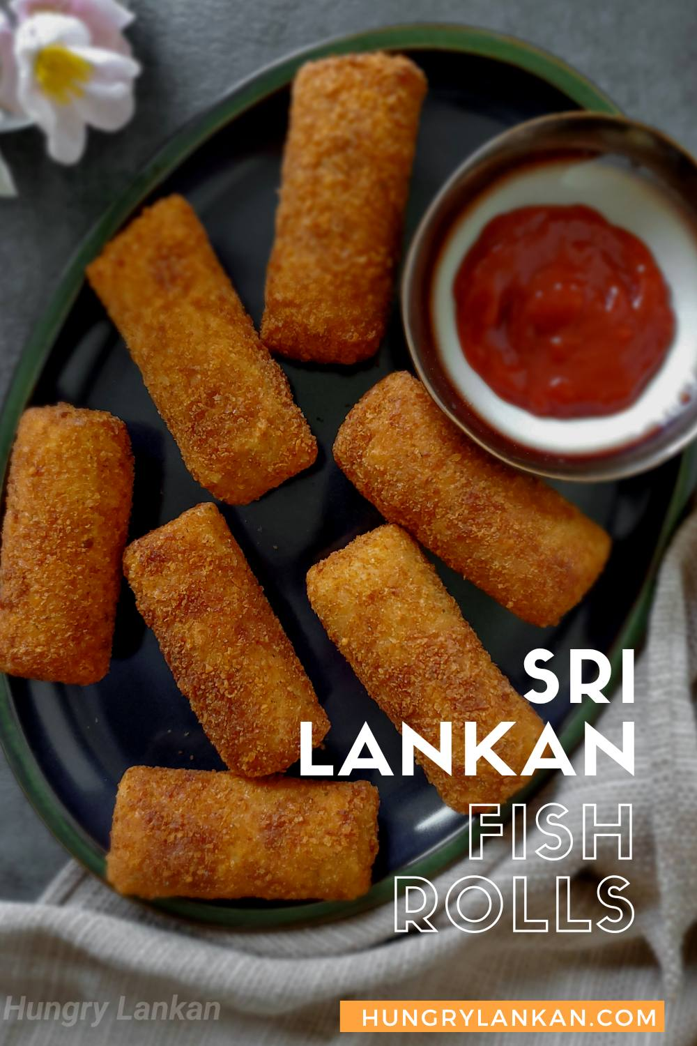 Sri Lankan popular snack made with a spicy vegetable and tuna filling covered with a thin pancake, breaded and deep-fried until crispy and golden
