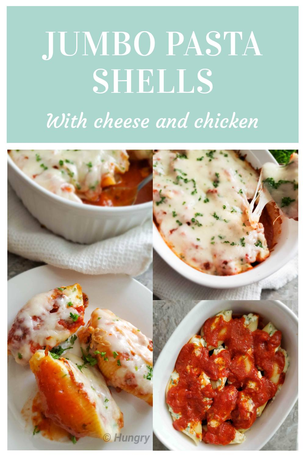 These delicious Jumbo shells are filled with cheese, chicken, and herbs and baked with marinara and more cheese on the top. Cheesy heaven for cheese lovers.